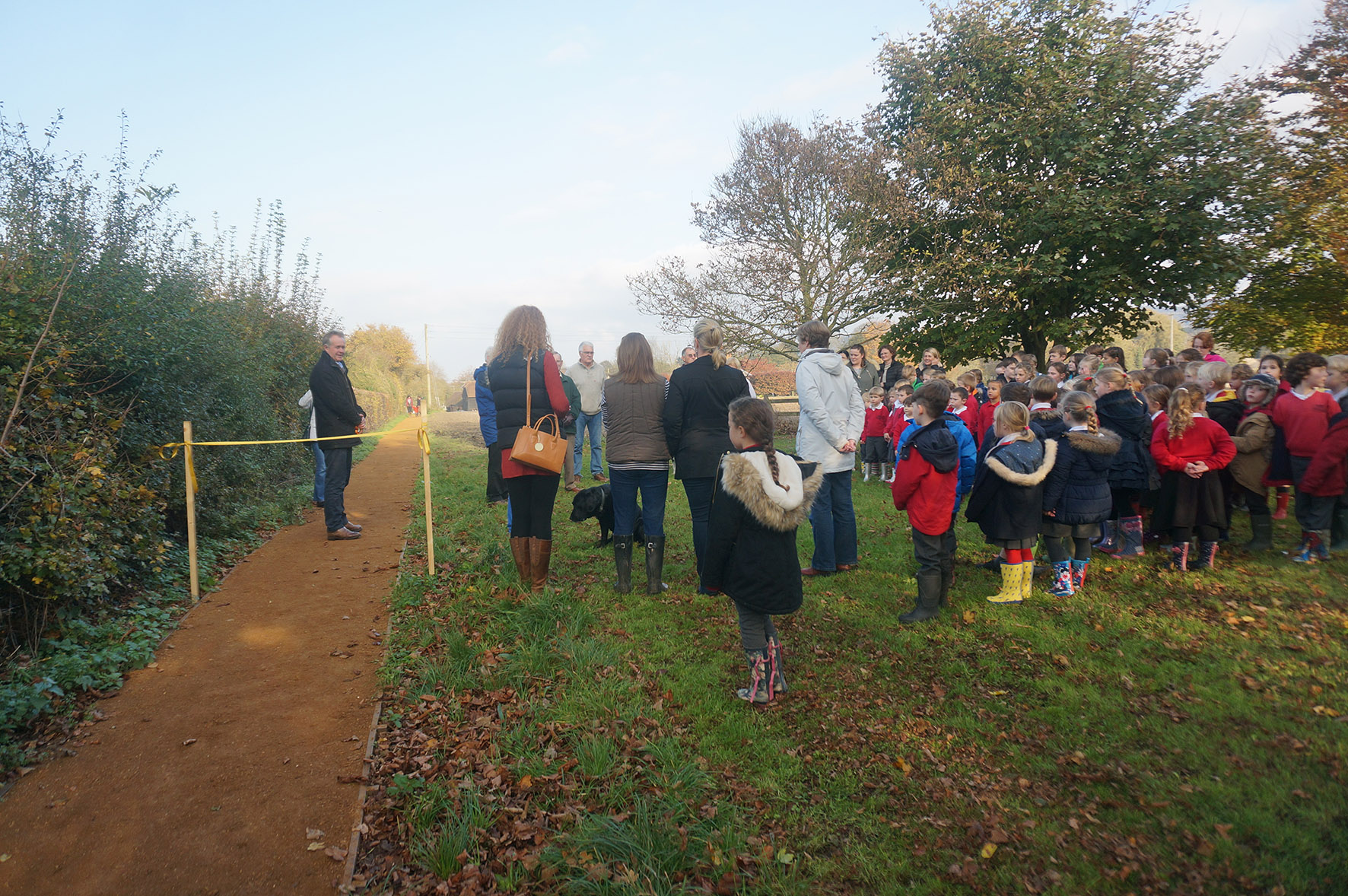 Schoolchildren and other guests at the official opening of the footpath between Kingston Blount to Aston Rowant