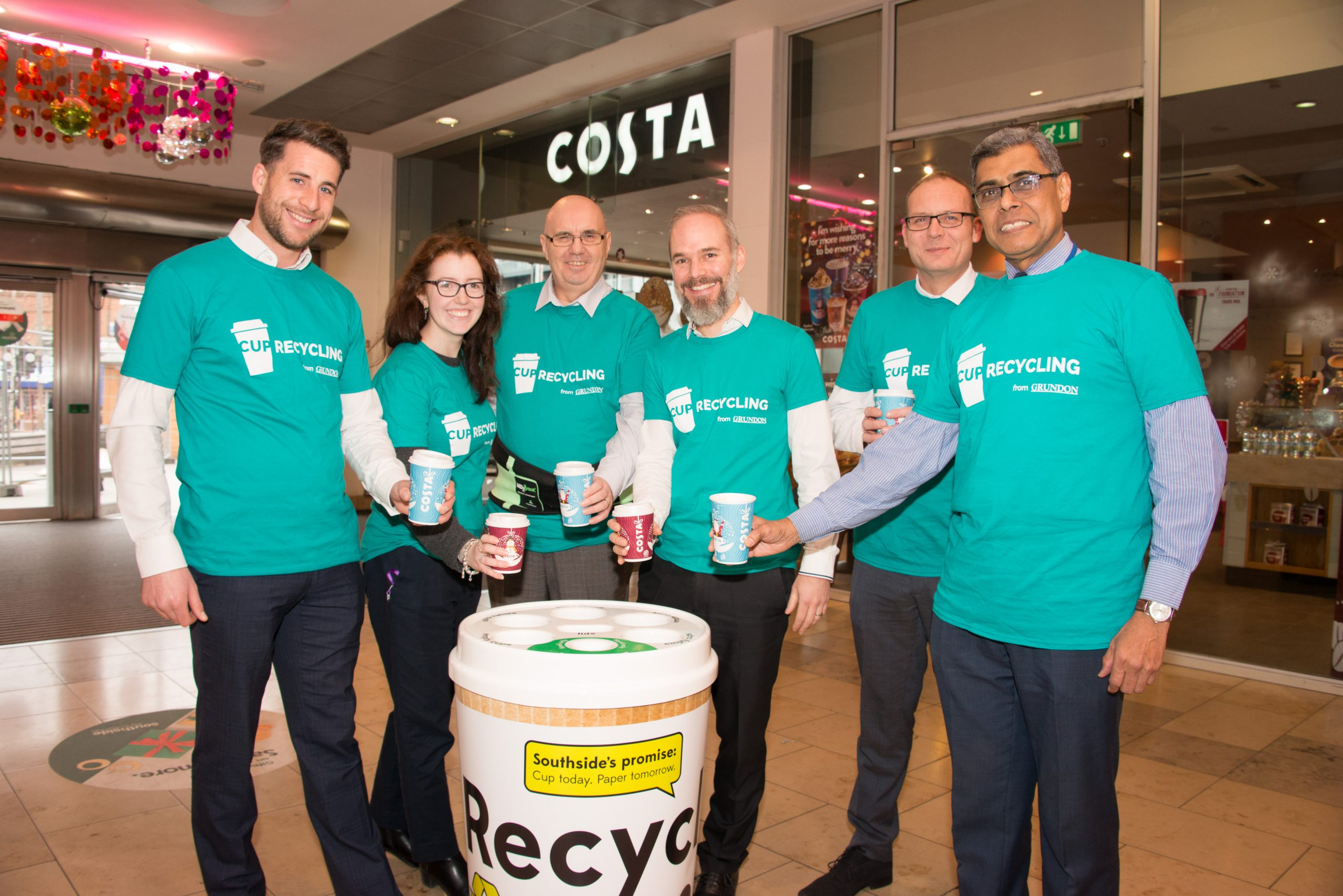 Grundon's Jack Yarrow is pictured (left) with the Southside Shopping Centre team at the launch of the new recycling campaign