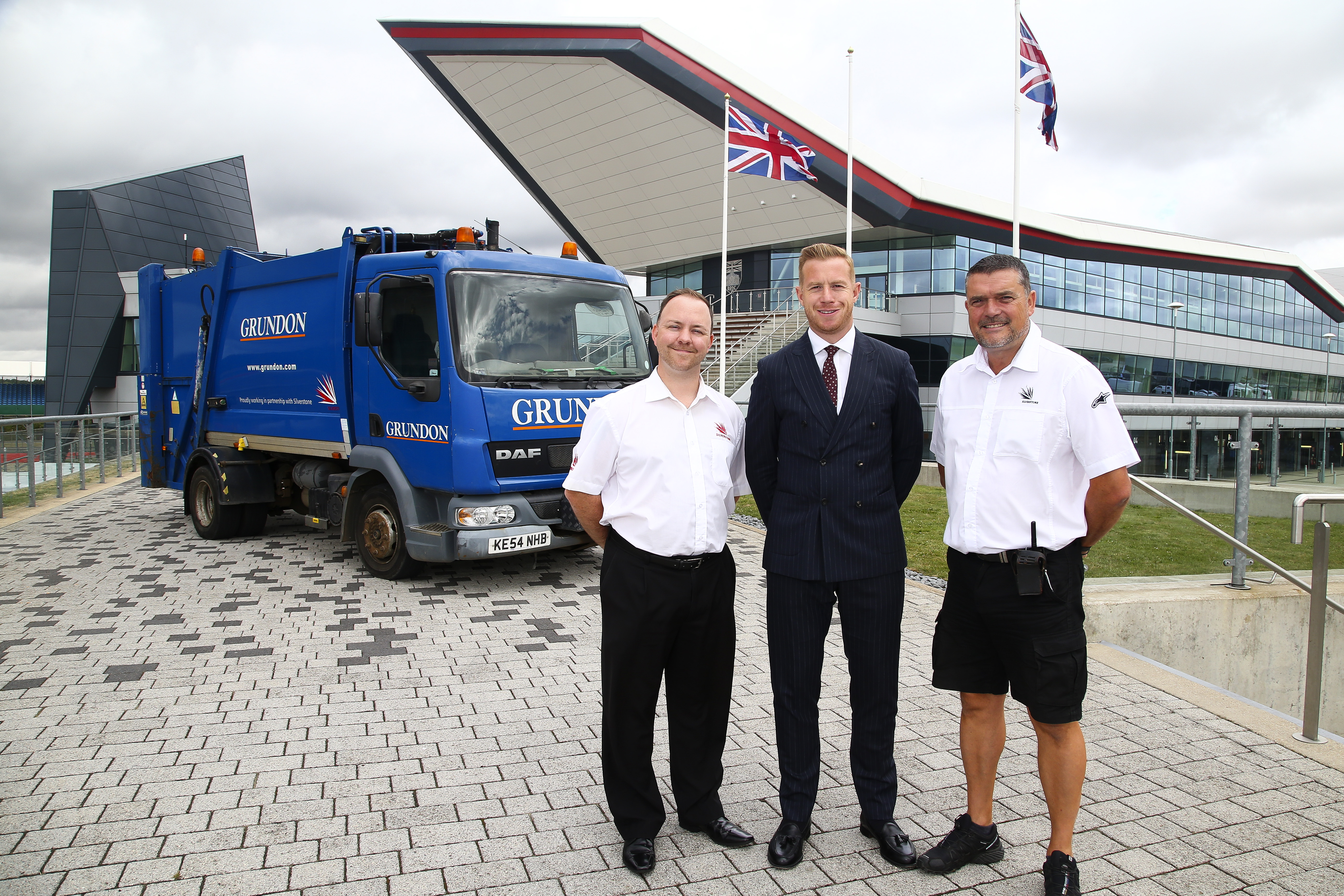 Grundon's Stephen Hill, centre, with Silverstone's Lee Thomas (left) and Lee Howkins