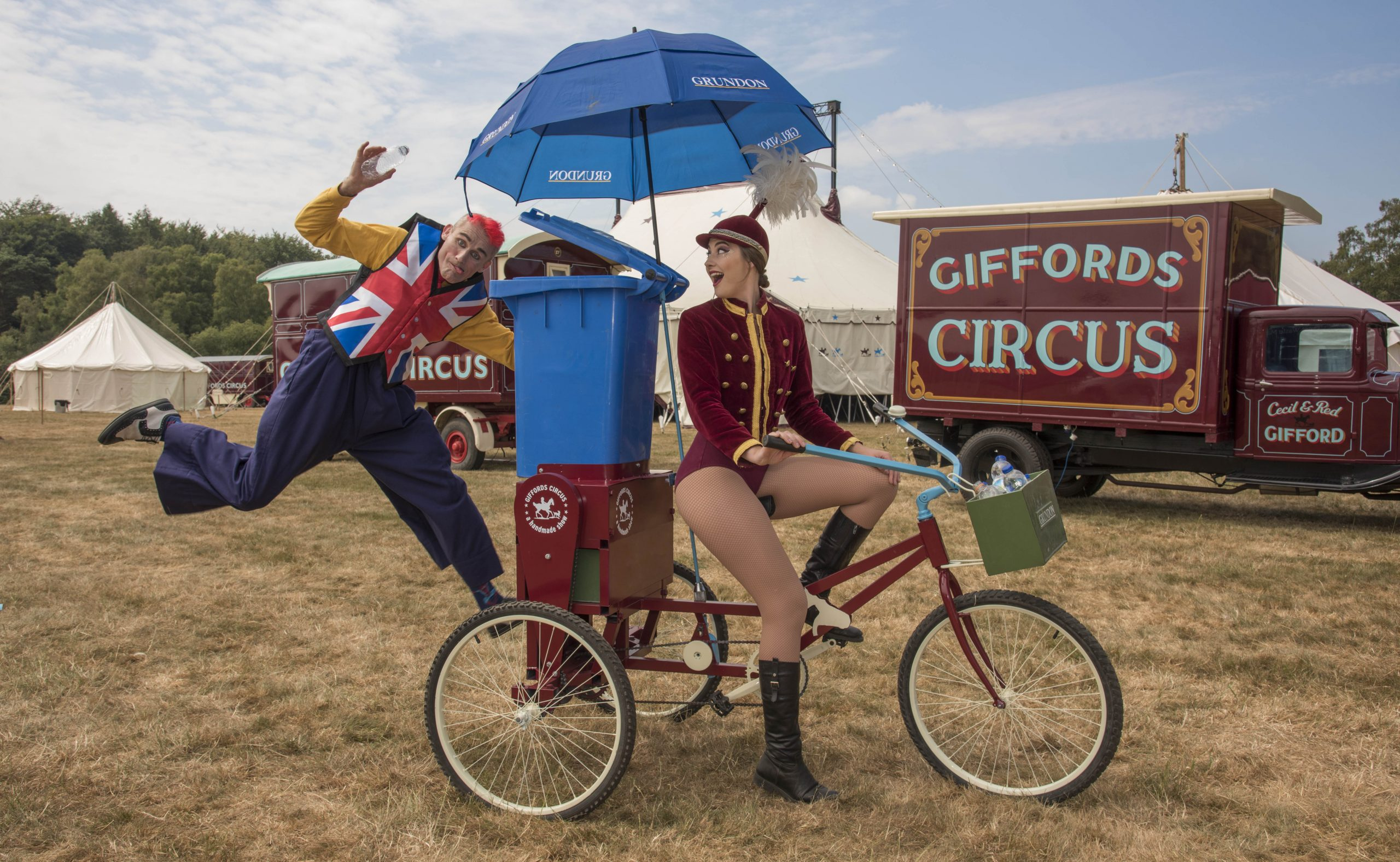 Tweedy and showgirl Lizzie clowning around on the Recycle Bicycle
