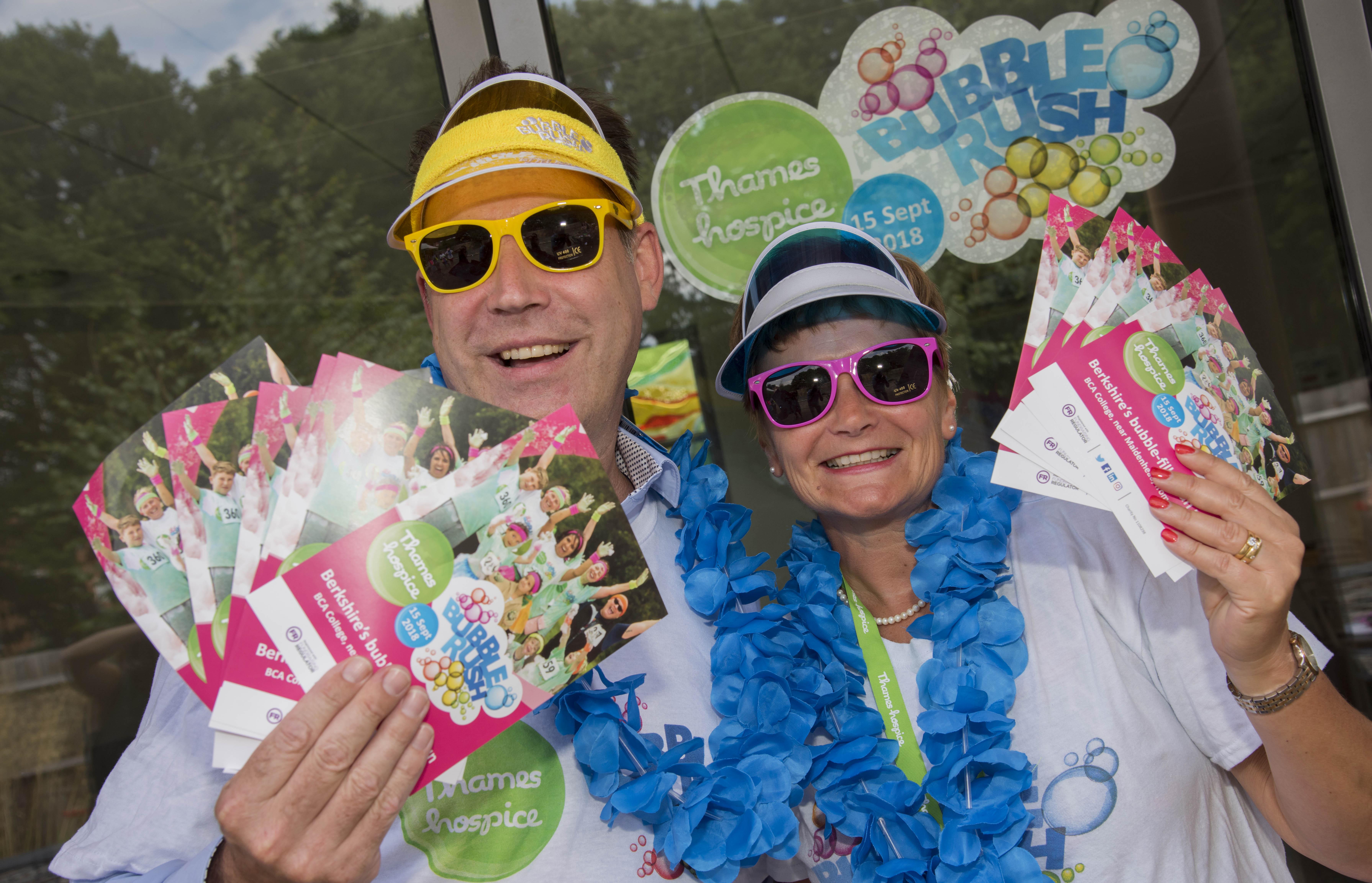 Neil Grundon (left) joined Debbie Raven, Chief Executive at Thames Hospice, to show his support for Bubble Rush