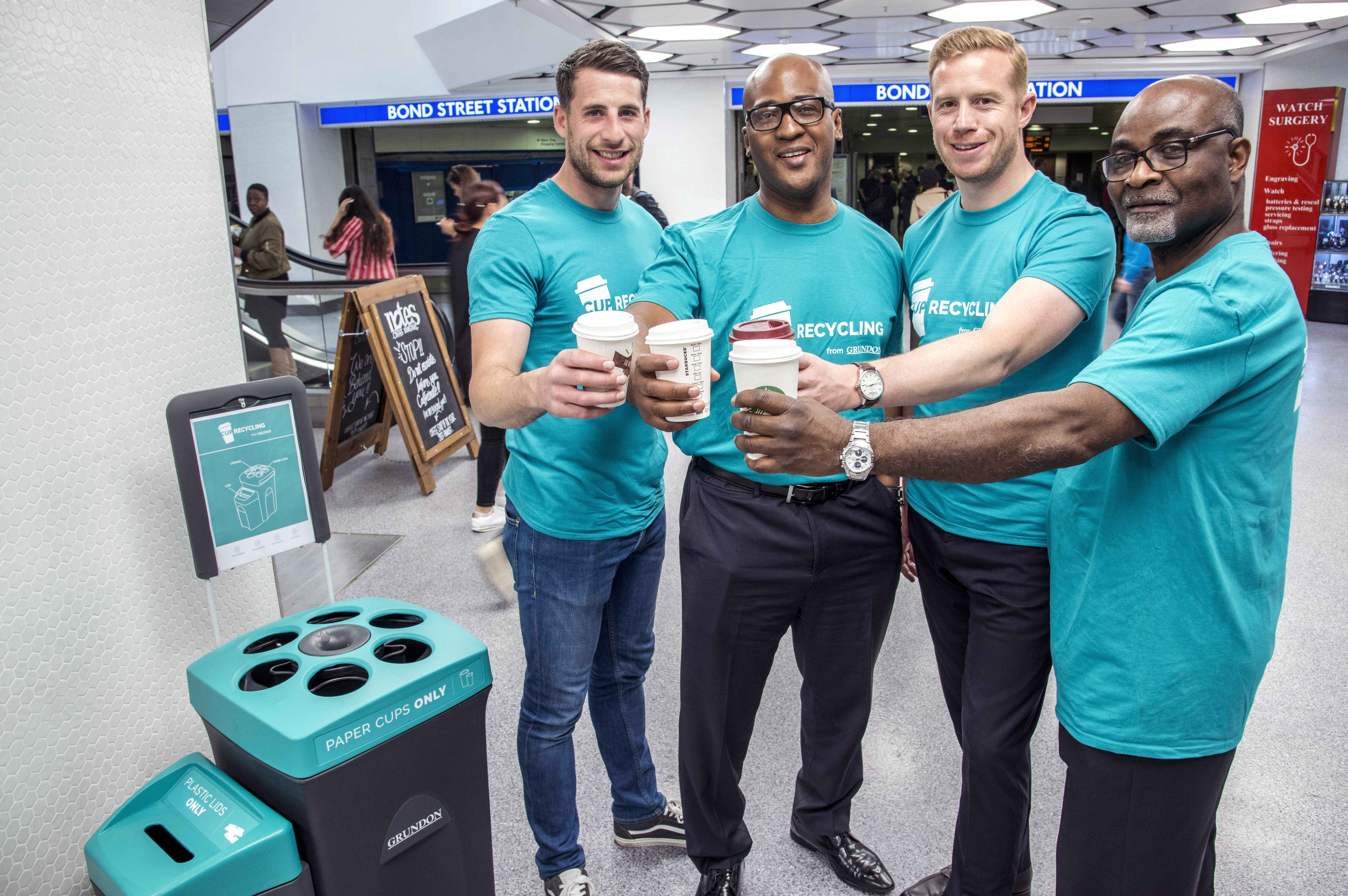 Grundon launch new cup recycling service at West One Shopping Centre: Grundon's Head of Sales, Stephen Hill; West One's Cyrus Annan, Centre Manager; Jack Yarrow, Grundon's Regional Sales Manager; and Victor Nunoo, Operations Manager at West One