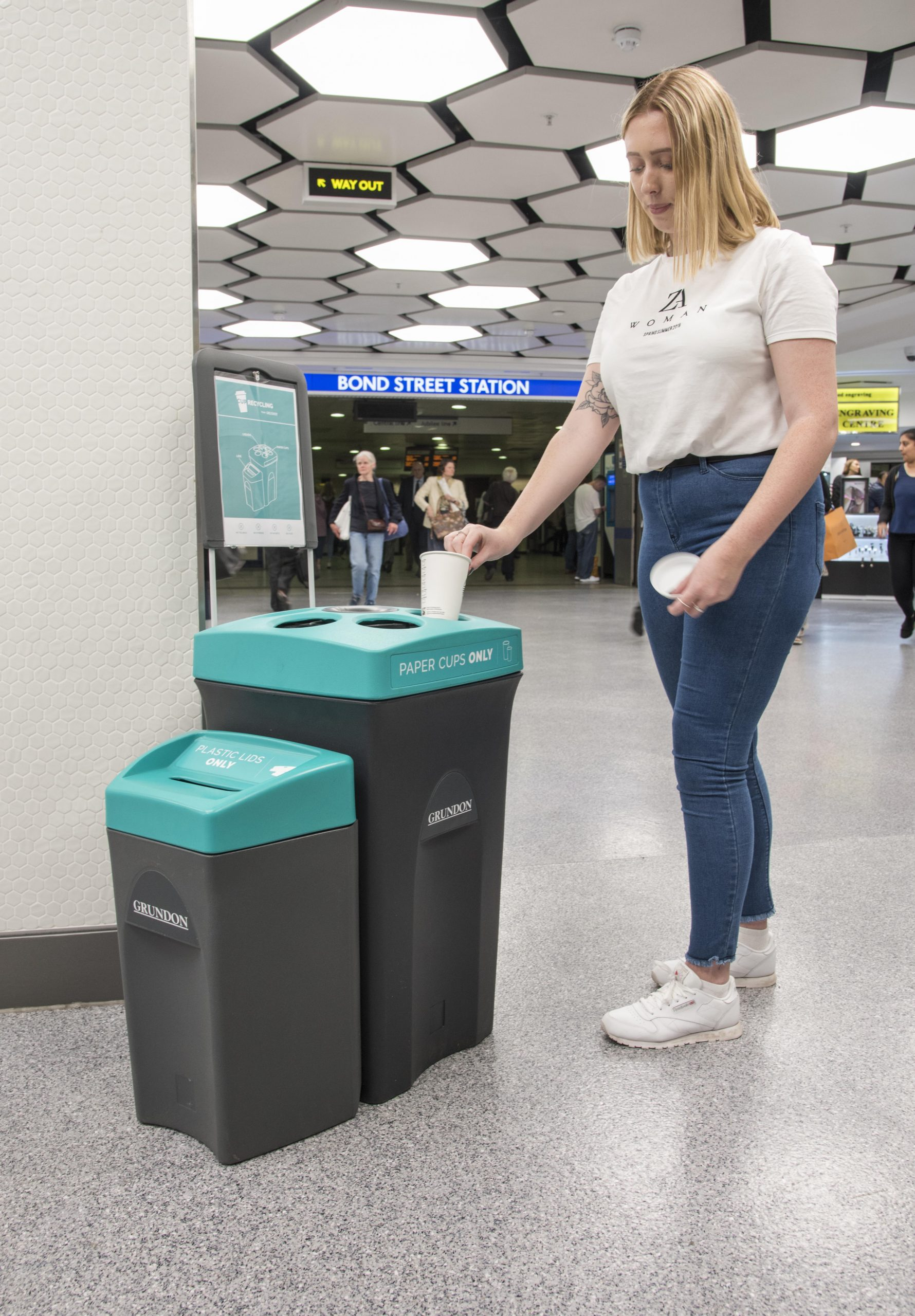 Grundon's specialist colour-coded cup recycling bins aid segregation