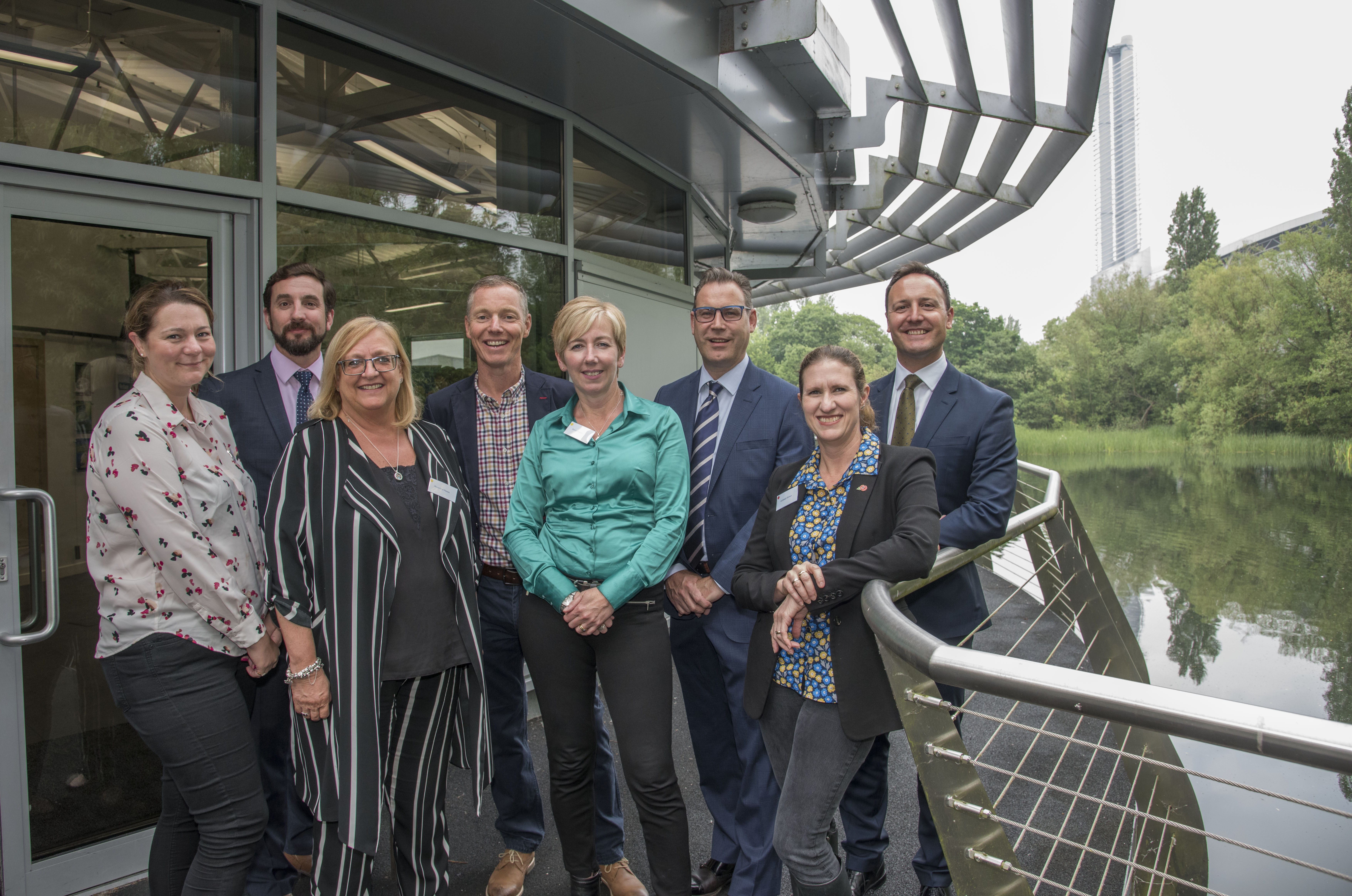 Pictured from left to right are IWFM Home Counties committee members: Hettie Orpin, Adam Phillips, Beverley Mason, Adrian Powell, Sarah Prentice, Neil Grundon, Bradley Smith and Ashleigh Brown, IWFM Non-Executive Board Deputy Chairman