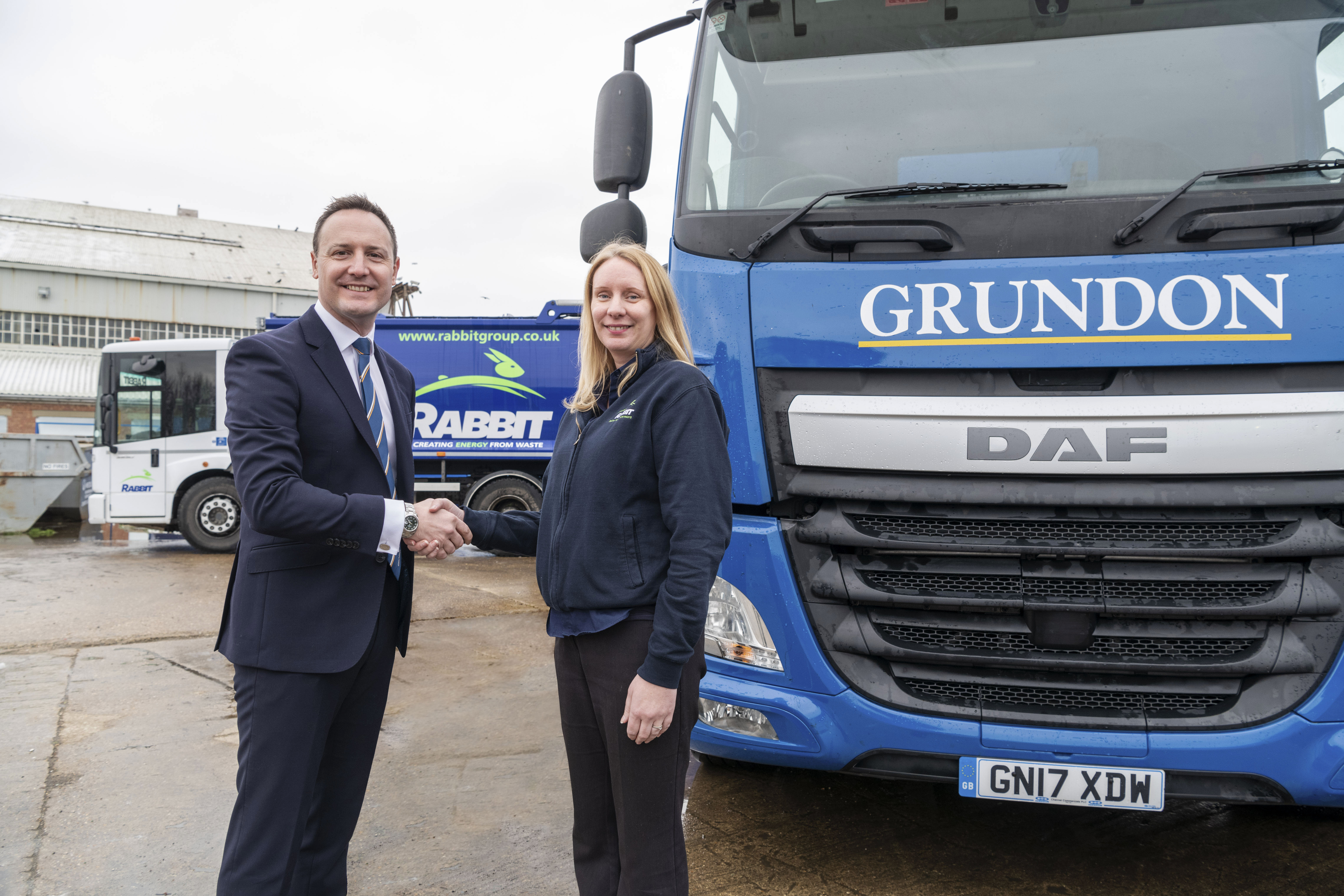 Bradley Smith, Sales & Marketing Director for Grundon pictured with Clare Gale, formerly with Rabbit, who joins the Grundon team as waste management sales.