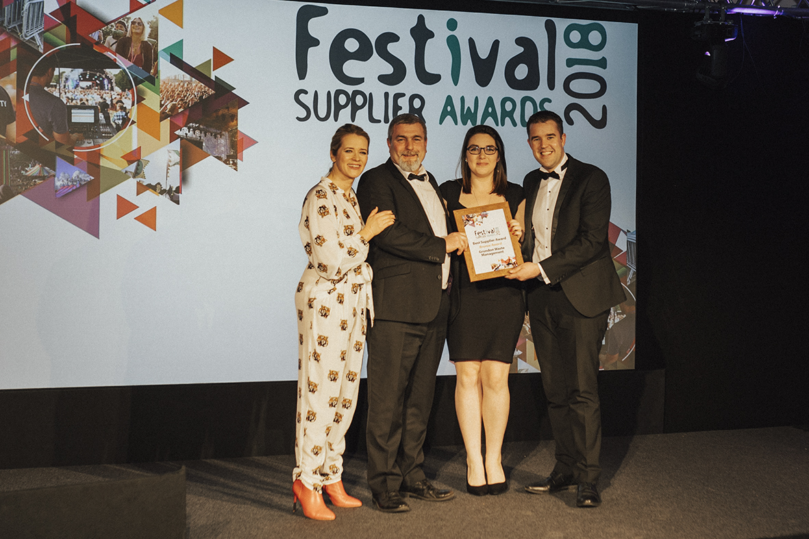 Photo shows: (l-r) Edith Bowman presents Peter Kent, Emma Tobin and Shaun Workman with the Best Supplier Award - Bronze trophy.