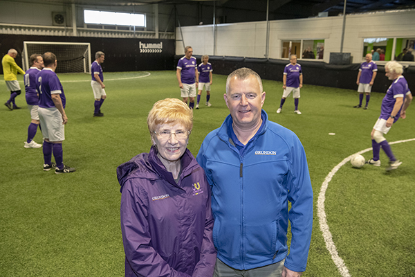 Cancer United's Jan Sheward with Graham Wells, Grundon's Depot Manager