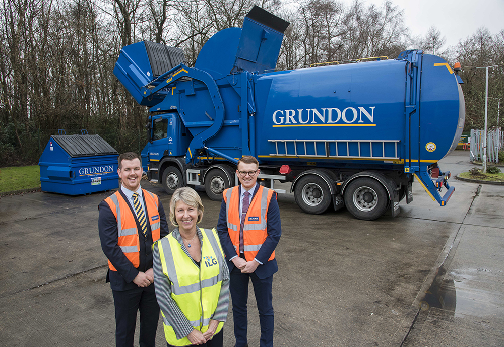 Grundon's Tom Coombe, Waste Management Sales, and Andy Piasko, Contract Manager, pictured with Jane Middlemiss, Director of Organisational Development at ILG (centre)