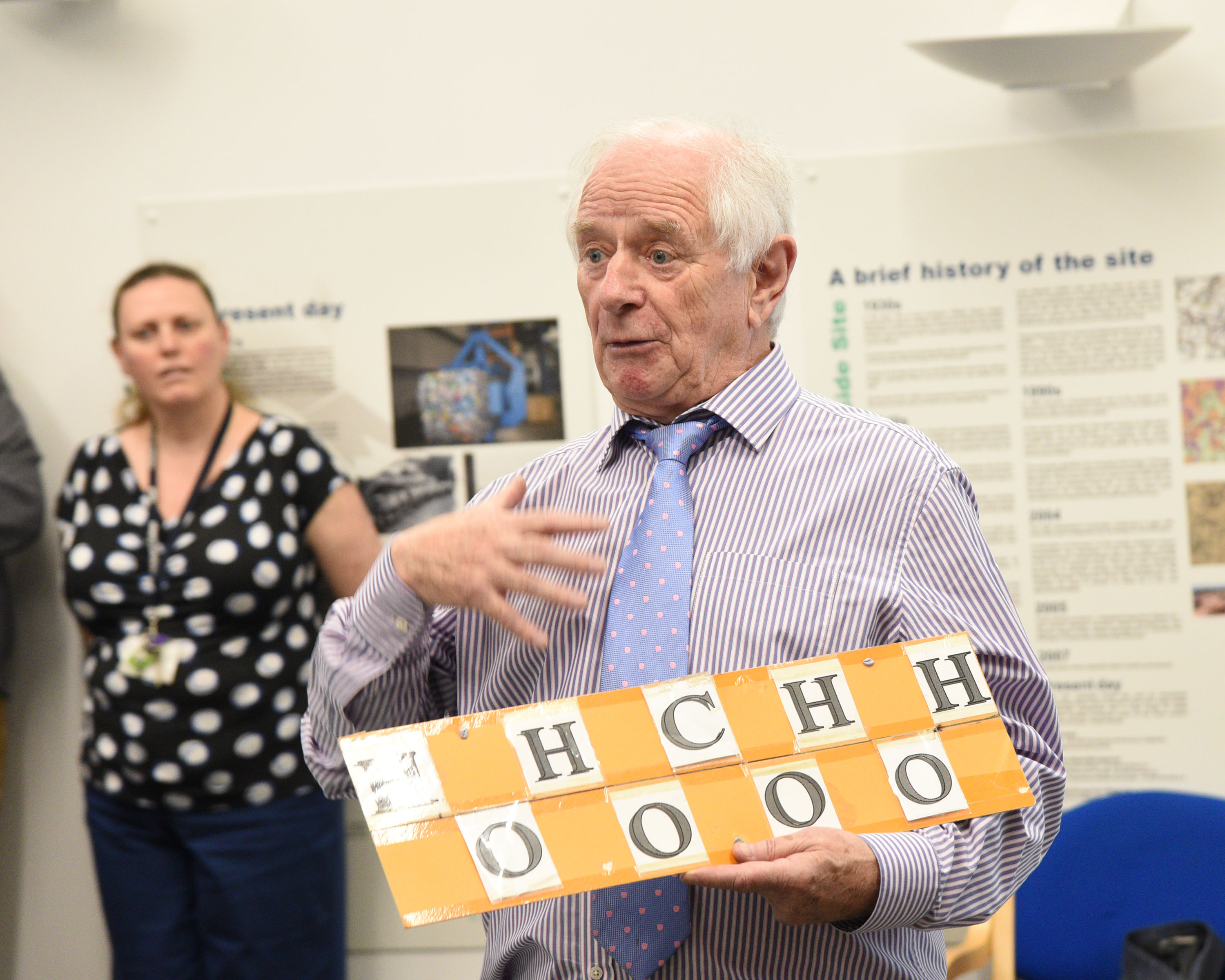 "After being introduced by Neil Grundon – and before presenting the cups to the winning schools, Johnny Ball kept the teachers and students amused with his funny, but factual recitation of the key elements of the Periodic Table – in the style of George Formby – accompanied by a regular chorus of ""When I Cleaning Windows"""