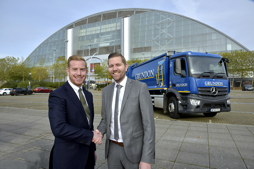 Gold standard of waste management: Stephen Hill, Head of Sales at Grundon, with Carl Meale, General Manager at Savills, the managing agent which runs Xscape Milton Keynes on behalf of owner Landsec.