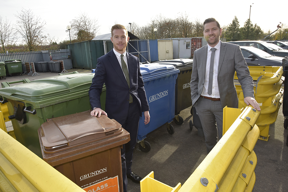 Partnership approach driving waste management success at Xscape Milton Keynes: Grundon Waste Management's Head of Sales, Stephen Hill, with Carl Meale, General Manager at Savills have worked together to implement a waste management strategy which has tripled the centre's recycling rate.