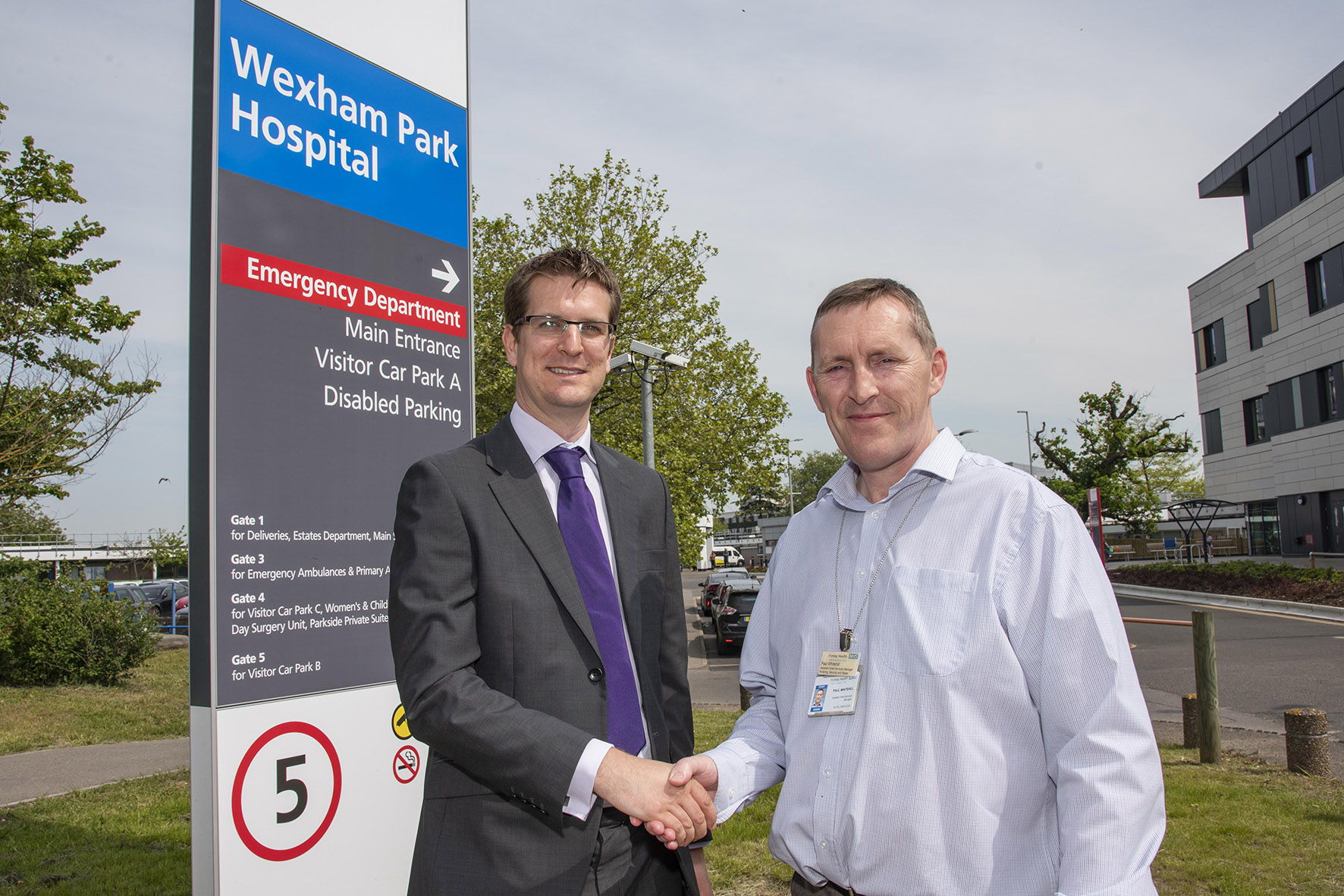 James Killick, Compliance Advisor at Grundon, pictured with Paul Whitehill, Assistant Hotel Services Manager at Wexham Park Hospital site