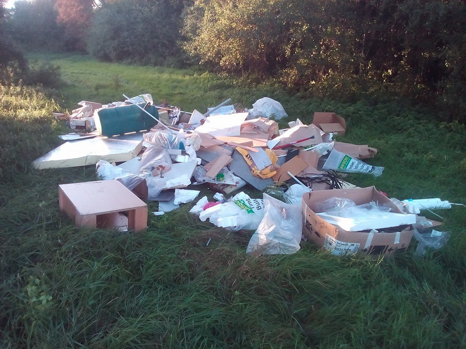 The extent of the fly-tipping damage at Priory Meadow in July 2018.