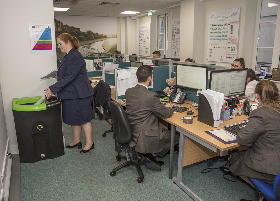 Recycling rates have been boosted through a number of initiatives in The Grove's office areas, including internal recycling bins which improve segregation, the provision of a confidential waste collection service and the segregation of food waste