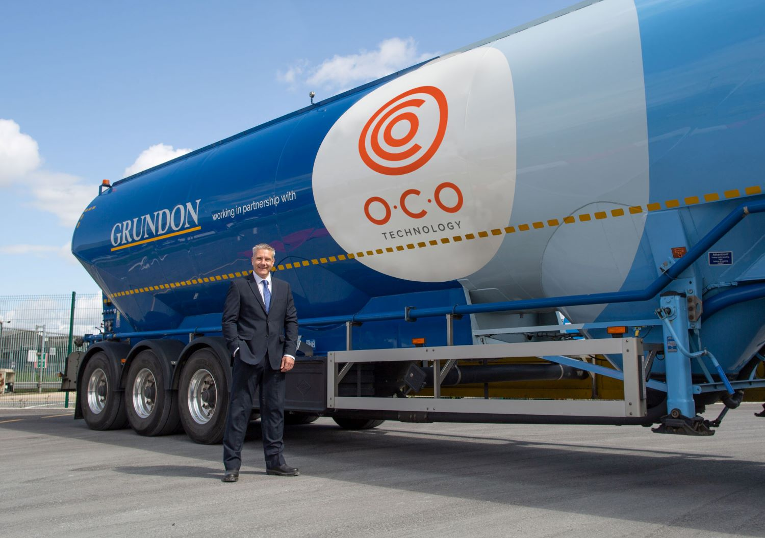 Steve Greig, managing director of O.C.O Technology, with one of the dual branded tankers
