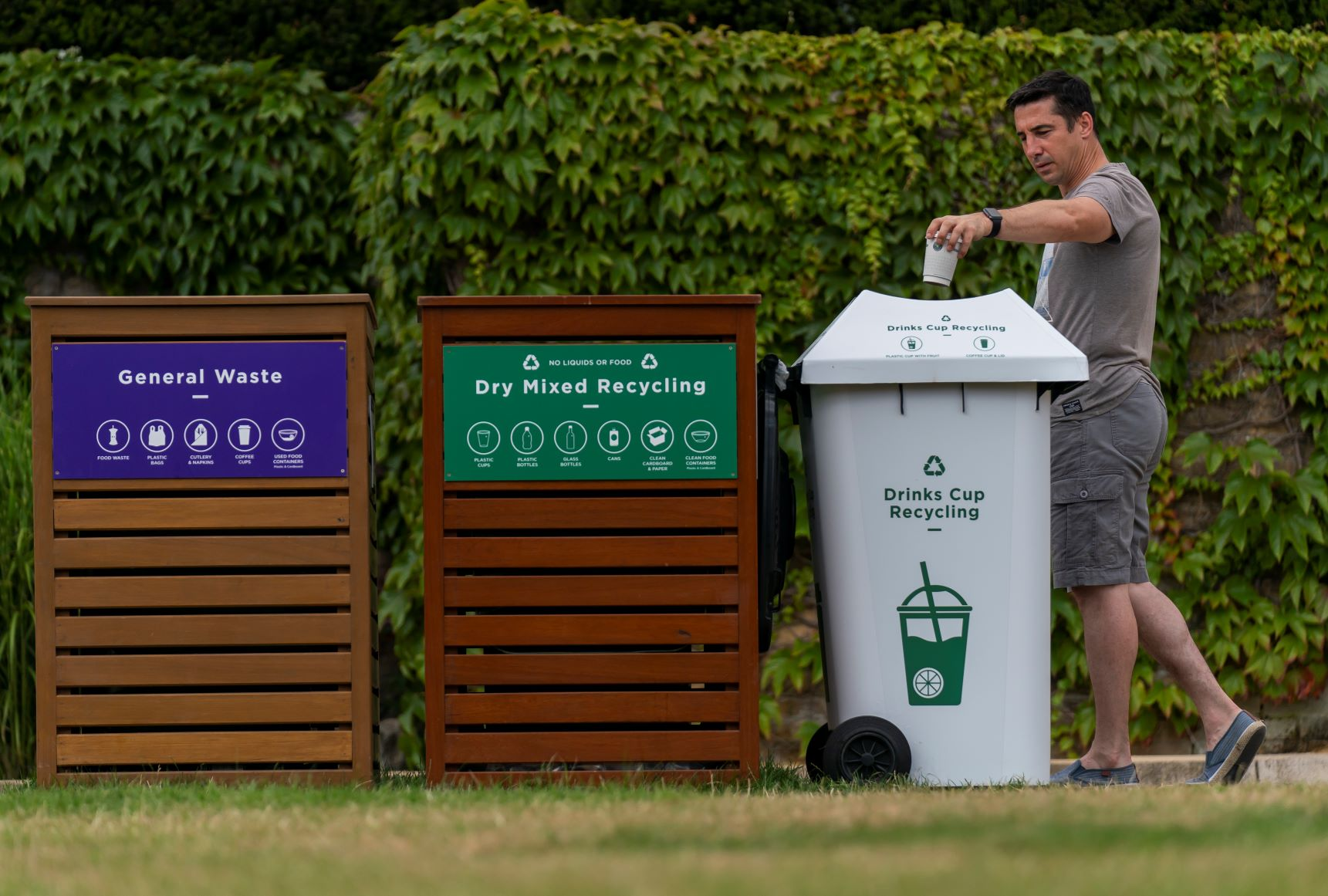 Amongst many improvements at The Championships 2019, clearly-marked bins have helped to avoid contamination