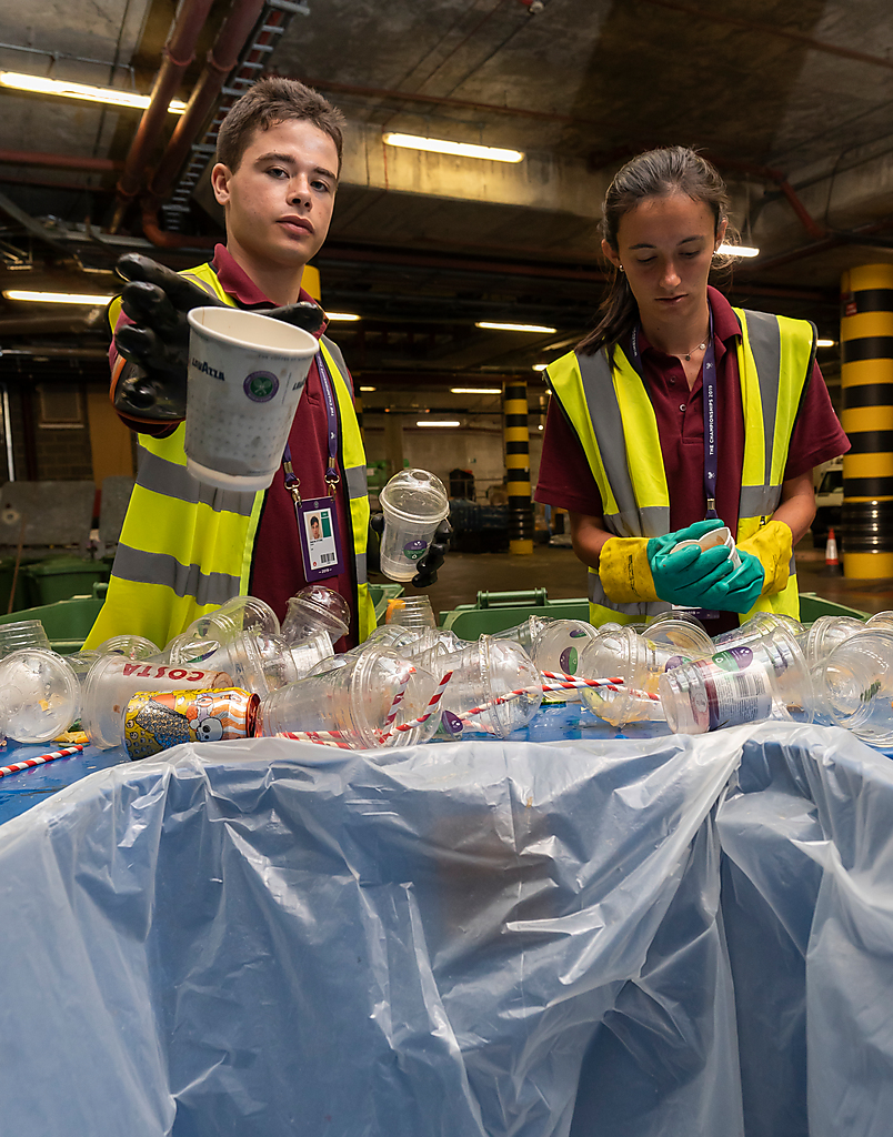 Once bins are full, they go to the loading bay area where two dedicated members of staff go through them on a sorting table.