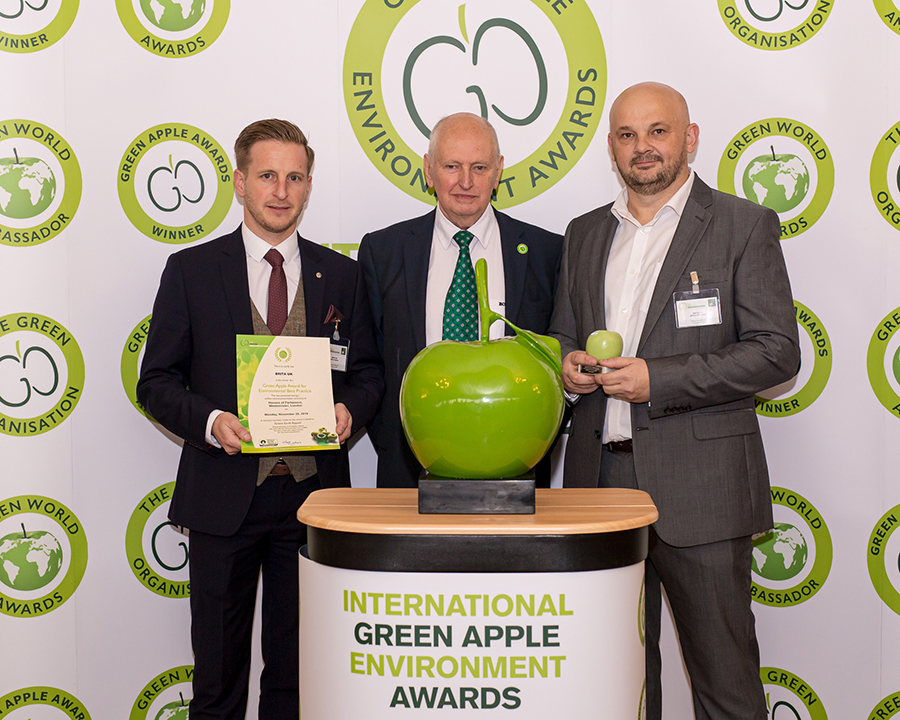 James Standen, Senior Sales Representative from Grundon Waste Management (left) joined Bryan Edwards, BRITA UK's Professional & Services Warehouse Manager (right) to collect the Silver Green Apple Award for Environmental Best Practice in the Products and Recycling Wastes Management category from Roger Wolens, Founder of The Green Apple Awards and Chief Executive Officer of The Green Organisation (centre)