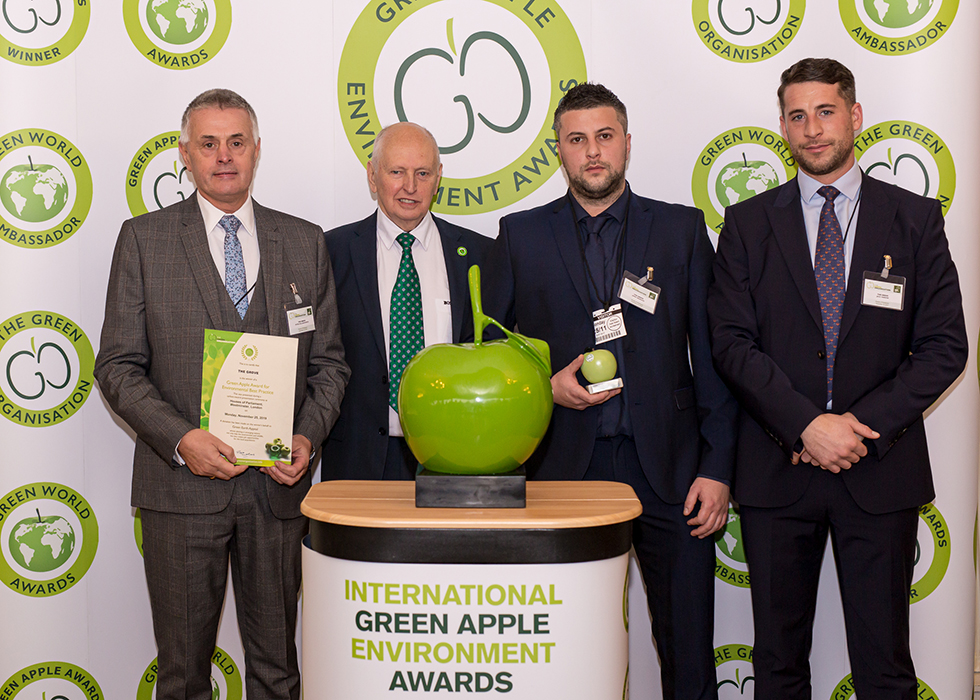Peter Hollingworth, Group Purchasing Director at Ralph Trustees (left) and Jamie Grierson, The Grove's Back of House and Logistics Manager (second from right) were joined by Jack Yarrow, Regional Sales Manager at Grundon Waste Management to collect the Silver Green Apple Award for Environmental Best Practice in the Sports, Leisure and Hospitality Wastes Management category from Roger Wolens, Founder of The Green Apple Awards and Chief Executive Officer of The Green Organisation (centre)