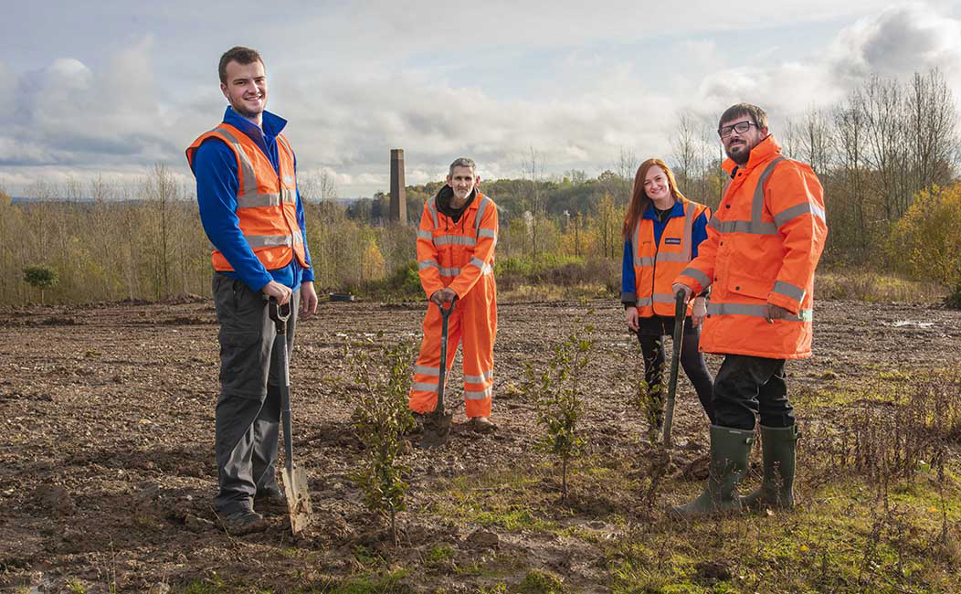 Members of the Grundon team joined the Woodland Trust's Big Climate Fightback by planting at the Knowl Hill landfill restoration project near Maidenhead in Berkshire. From left to right: James Asquith, Environmental Assistant; Chris Maynard, Landfill Operative; Lucy Moody, Marketing Assistant; and Mark Padgham, Waste Facility Manager
