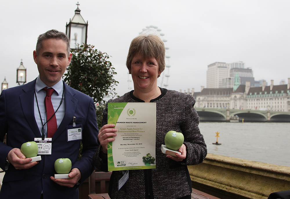 Grundon Waste Management's James Gilbert, Environment & Energy Manager and Toni Robinson, Head of Compliance celebrate being Green Apple Award Winners