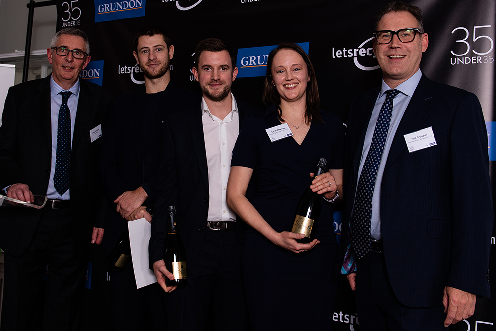 Grundon's Deputy Chairman Neil Grundon (right) presented special awards to (from right to left) Sarah Ottaway from SUEZ Recycling and Recovery UK, Matt Manning from Dixons Carphone PLC, and Arthur Kay from Bio-Bean Ltd; alongside Letsrecycle.com Editor, Steve Eminton (left)