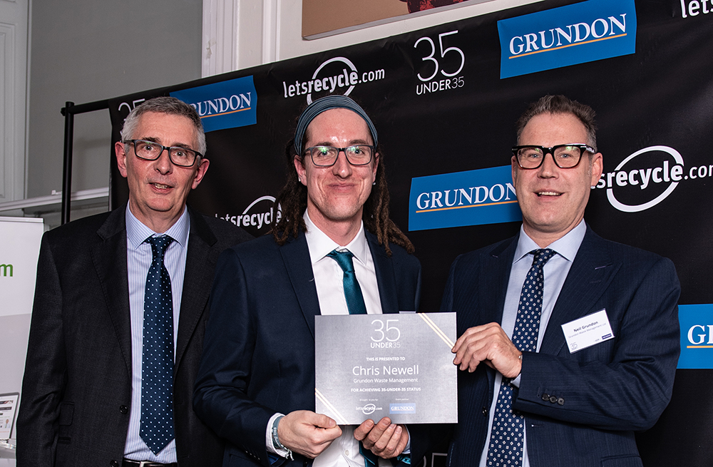 Grundon's Chris Newell (centre), celebrates becoming a 35-under-35 status holder, alongside Letsrecycle.com's  Steve Eminton (left); and Neil Grundon (right)
