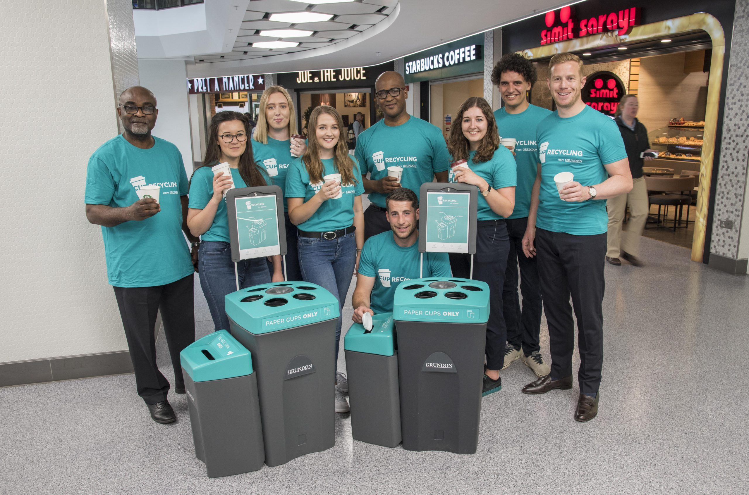 Grundon joined the West One team to launch the new cup recycling service at the shopping centre