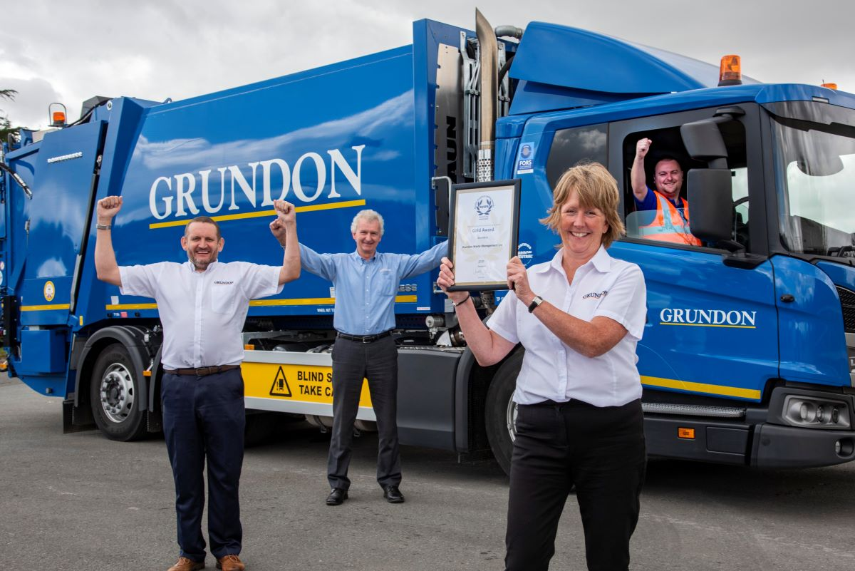 Members of the Grundon team celebrated winning a prestigous Gold Award from the Royal Society for the Prevention of Accidents (RoSPA) for Health and Safety Excellence. From left to right: Reg Hodson, Safety, Health, Environment and Quality (SHEQ) manager; Stephen Roscoe, Technical Director; Toni Robinson, Head of Compliance; and James Marlow, Lead Driver