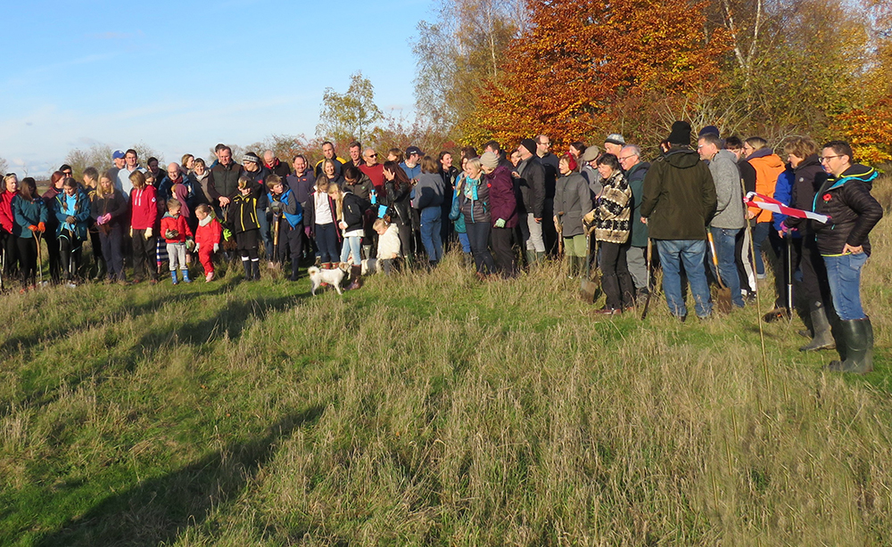 Plenty of volunteers arrived to help for the tree planting programme. Photo credit: Benson Nature Group