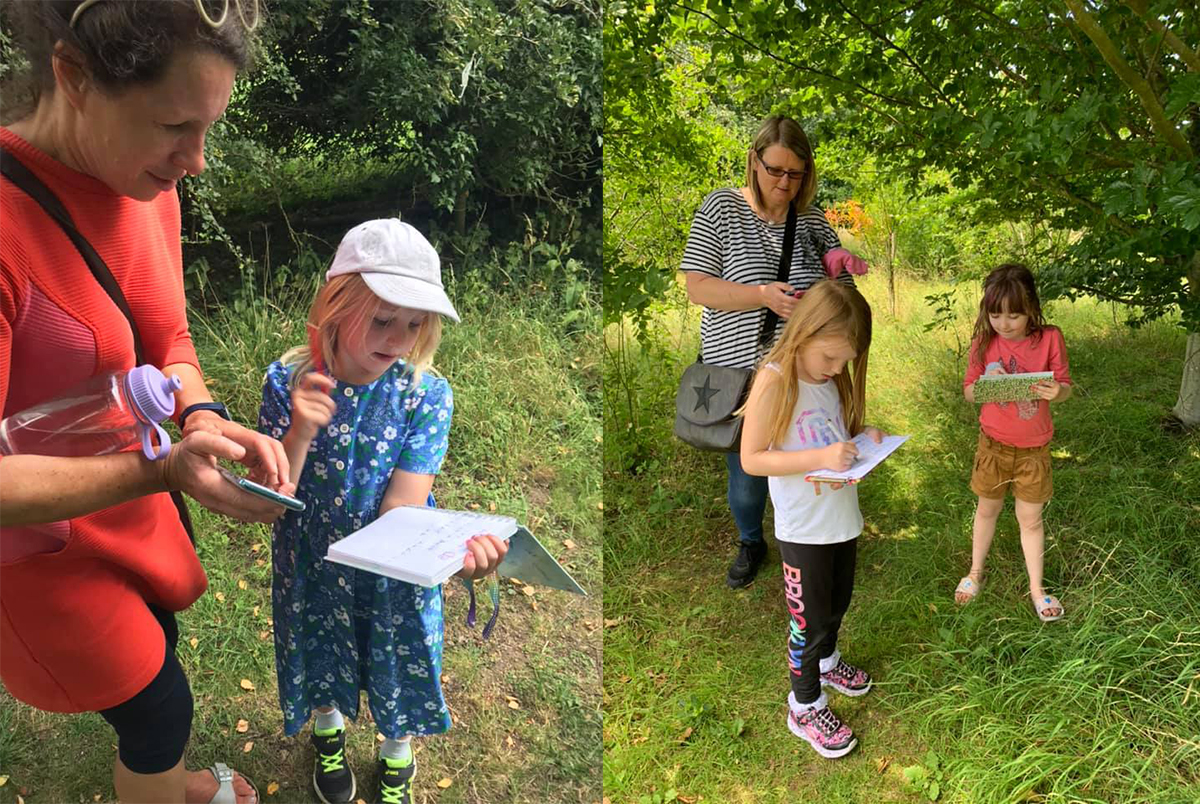 Youngsters enjoy exploring at Warwick Spinney. Photo credit: Benson Nature Group