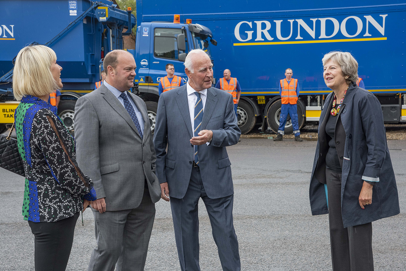 Theresa May MP was welcomed to Grundon's Knowl Hill clinical waste operation by Louise Woodbridge; Clayton Sullivan-Webb, Managing Director; and Norman Grundon, Chairman