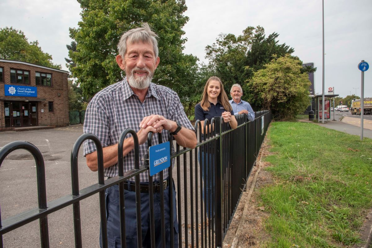 Pictured from left, in front of the smart new fencing are: Graham Neilson, Kirsti Santer and Ollie Kelly.