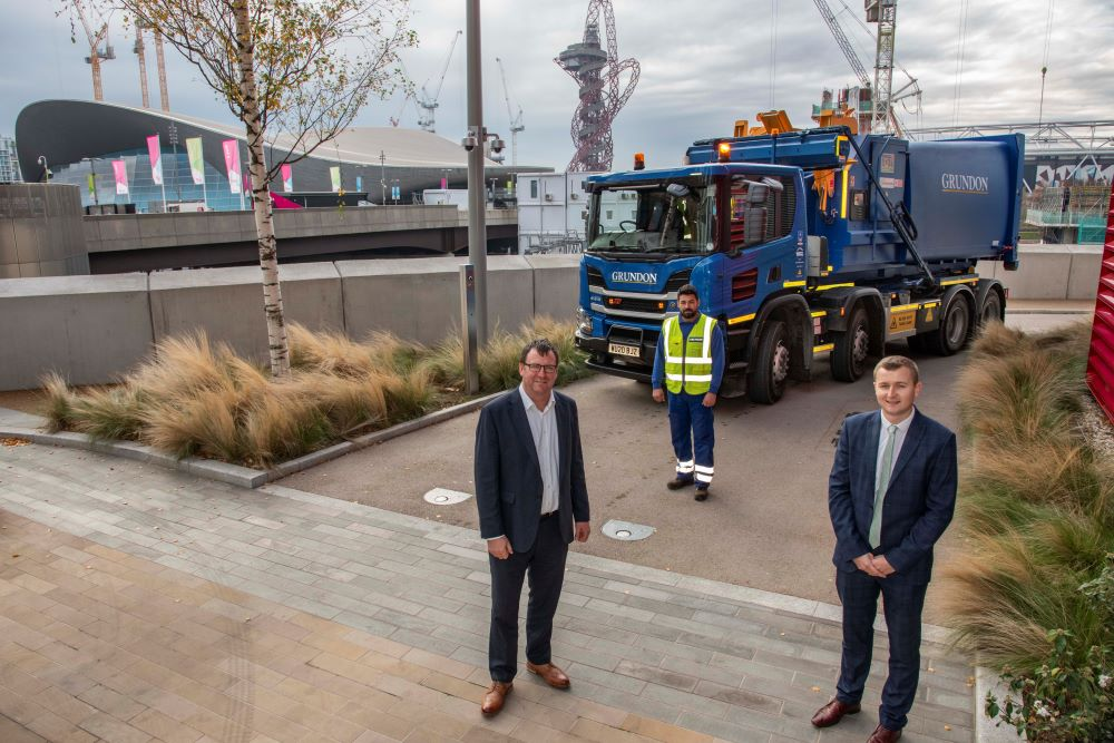 A partnership approach: pictured from left to right, Jason Hurd, Head of Security at Savills, with Grundon's Jose De Jesus Jardim, LGV Driver and James Luckett, Contract Manager