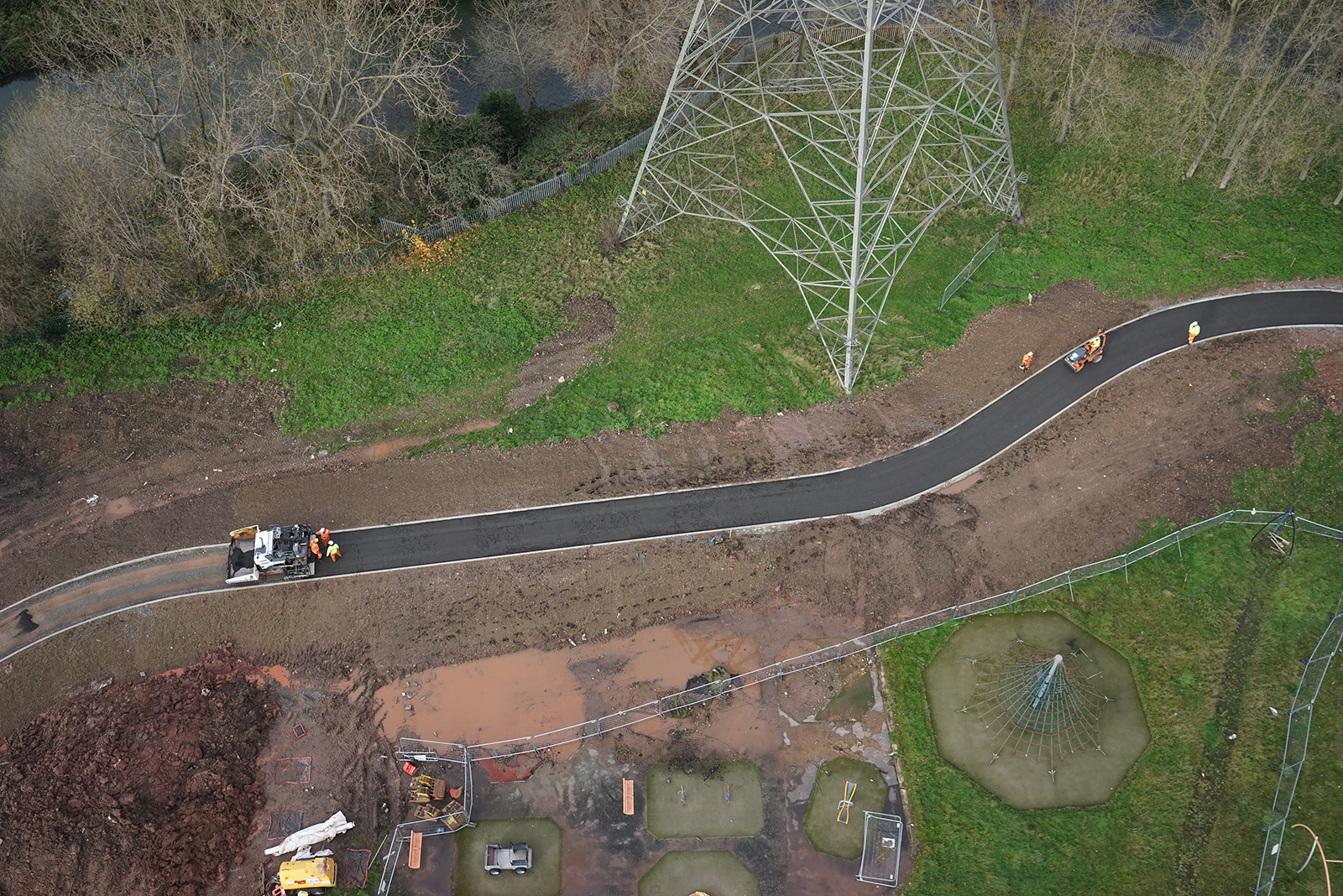 An aerial view of the low carbon asphalt cycle path at Bromford.