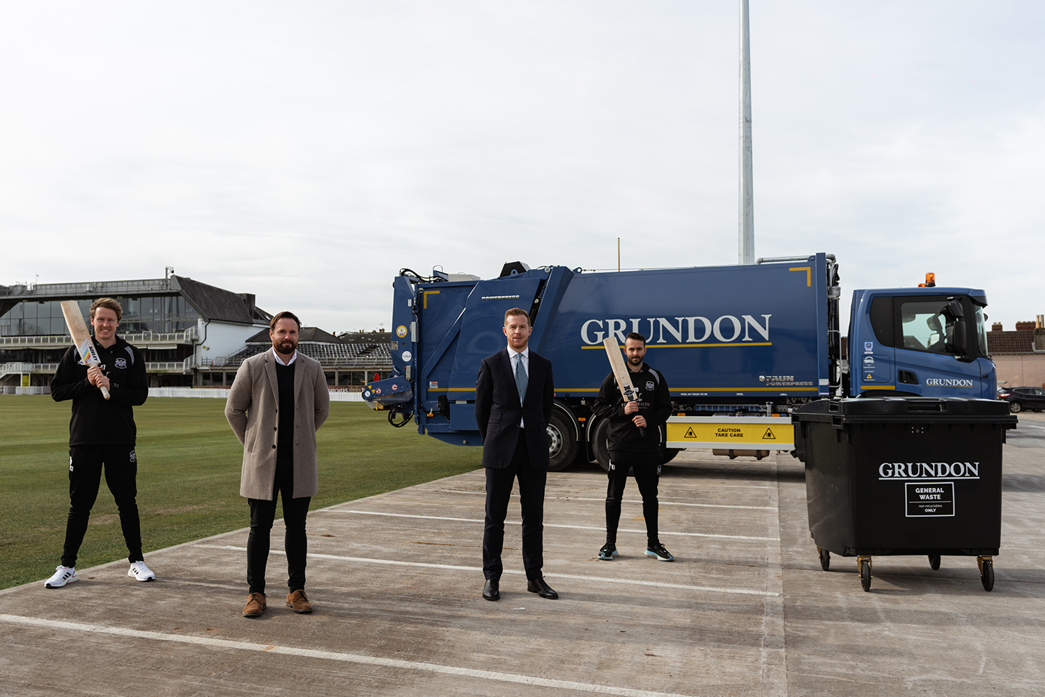 Celebrating the announcement of the new sustainability partnership: (from left to right) George Scott, all-rounder; Joe Kaniecki, business development manager at Gloucestershire Cricket Club; Steve Hill, head of sales for Grundon Waste Management; and Gloucestershire's T20 Captain and all-rounder, Jack Taylor.