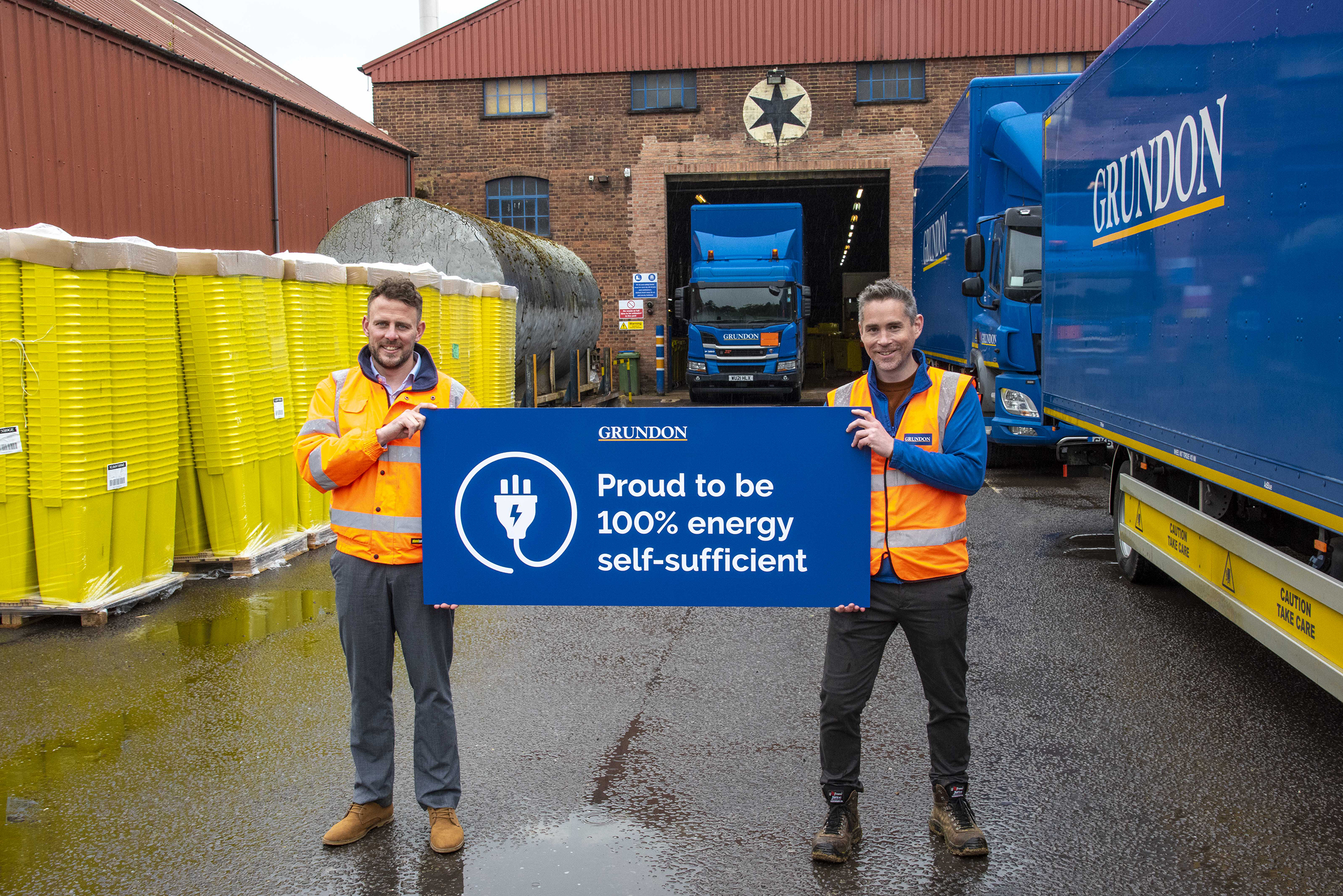 Phil Steer, Commercial Manager – Clinical (left) and James Gilbert, Environment & Energy Manager (right) , celebrate Grundon's clinical waste operation being completely self-sufficient in green energy.