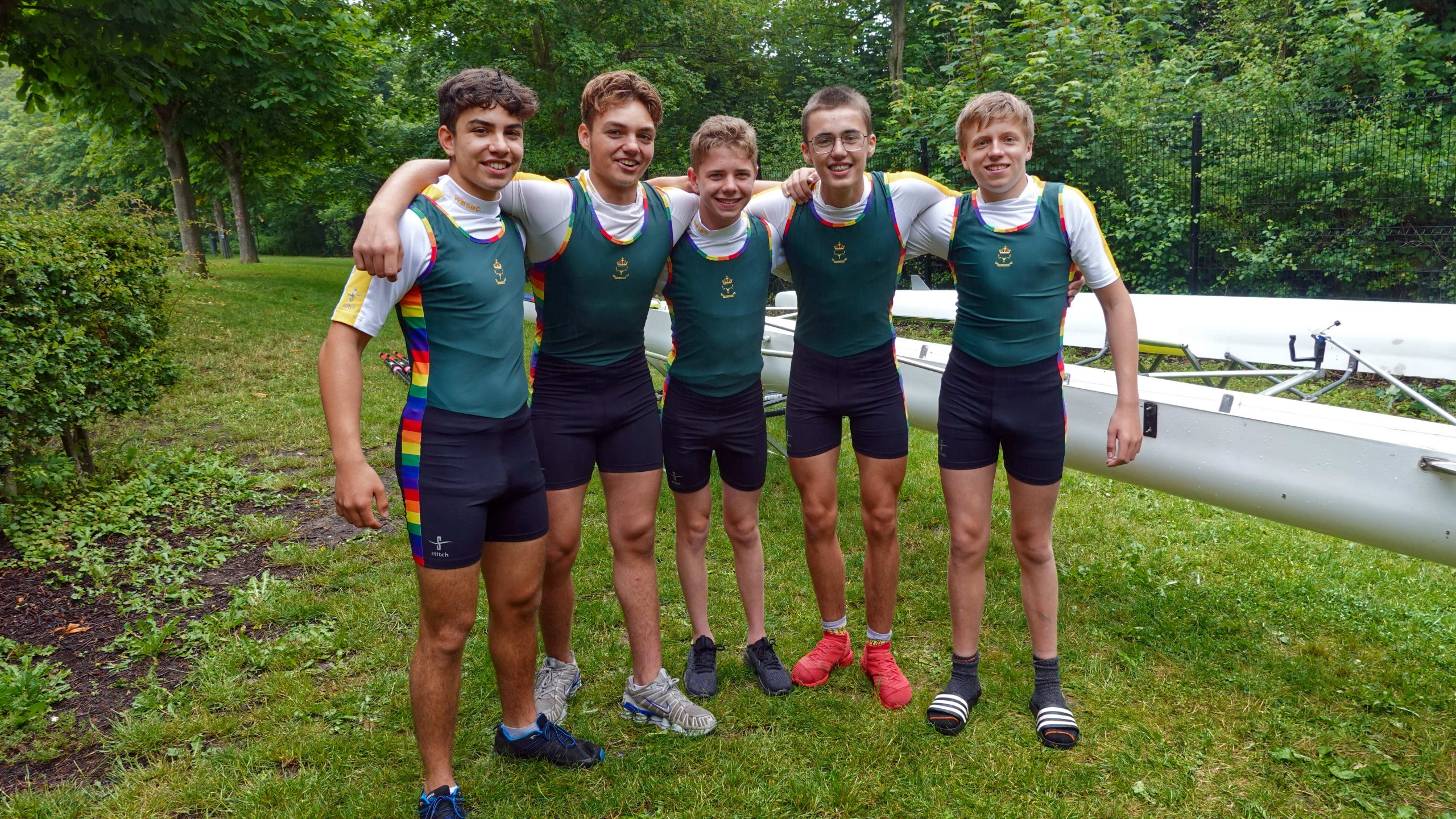 Proudly sporting their Pride kit are the Year 10 rowing crew who competed last weekend at Marlow Regatta. From left: Pedro Theriaga, Sanad Al Qahef, Joshua Claassen, Jimmy Harlow and Aticus Chute.