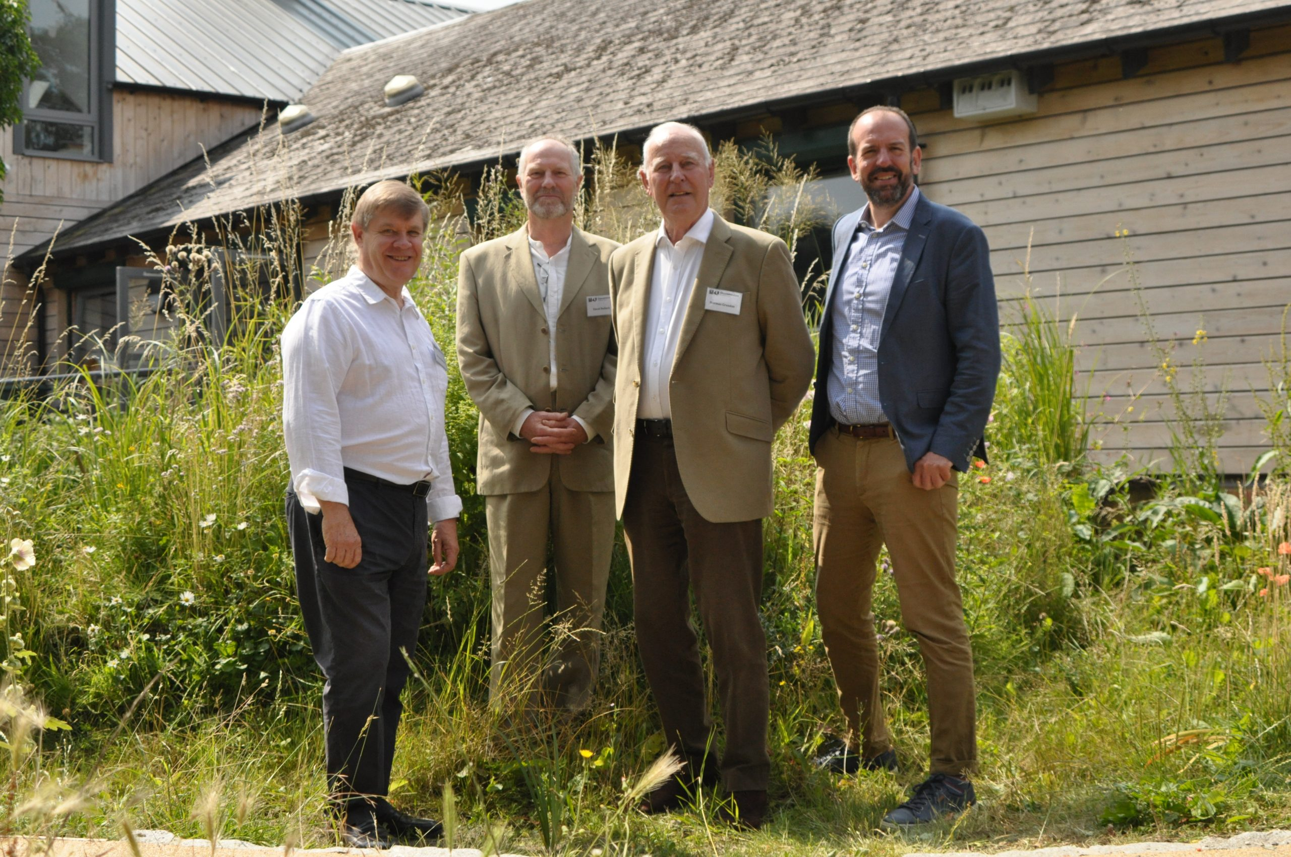 Pictured from left Richard Skehens, Grundon's former CEO; David Bullock, Chair of Trustees at Gloucestershire Wildlife Trust; Norman Grundon, Chairman of Grundon Waste Management; and Roger Mortlock, CEO of Gloucestershire Wildlife Trust.