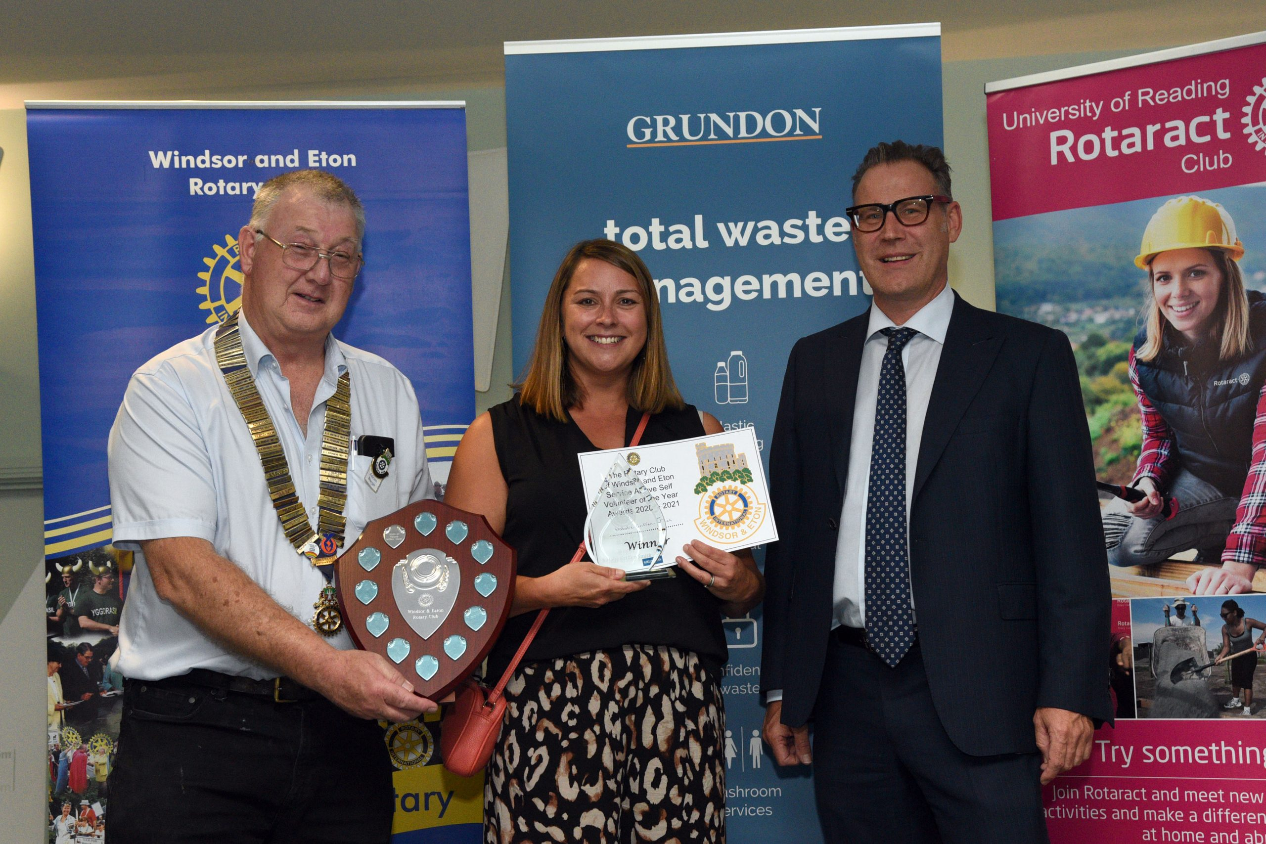 Winner of Volunteer of the Year, Natalie Griffen-Smith is pictured receiving her award from Adrian Benge President WERC (left) and Neil Grundon, Deputy Chairman of Grundon Waste Management.