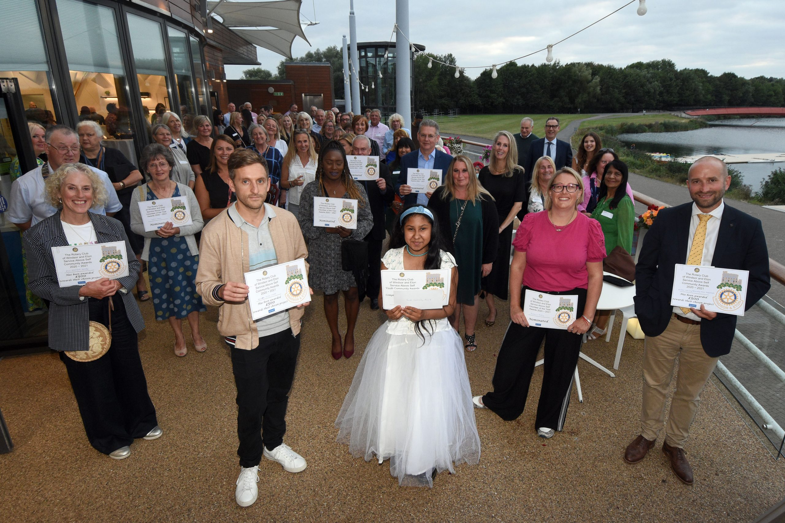 Picture shows many of the winners, nominees and vaccination centre volunteers who were celebrated at the inaugural Windsor & Eton Rotary Club Service Above Self community awards on Thursday.