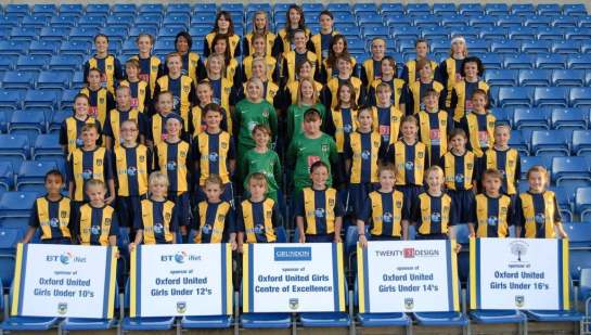 Photo of Demi and Ella with other under 14's slected for Engalnd Trials