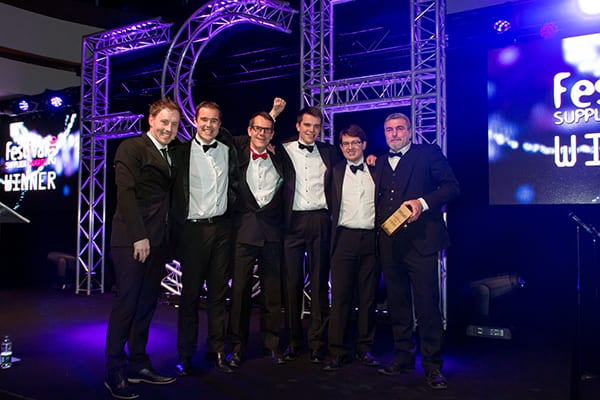 Celebrating in style, from left: Andrew Ryan, comedian and host of the awards, Shaun Workman, Business Development & Special Events Sales Manager, Grundon Waste Management; Nick George, Thomas George and Peter Corbal, Towersey Festival; Peter Kent, Depot Operations and Special Events Manager, Grundon Waste Management.