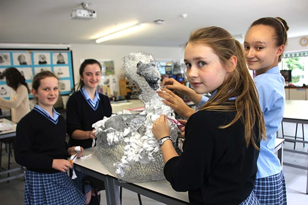 Pupils from years seven and eight at Cranford House School, Moulsford, creating their cygnet for The Big Sculpt at The GAP Festival