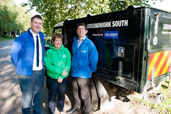 Photo shows Anthony Foxlee-Brown, marketing and communications manager at Grundon, with Stewart Pomeroy, Colne Valley Park CIC managing agent, and Debbie Valman from Groundwork South.