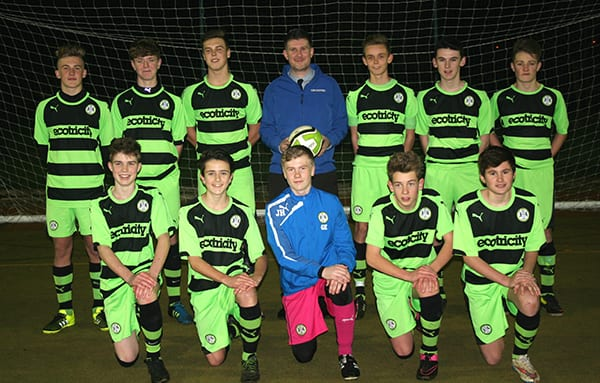 Forest Green Rovers Under 15 squad and Anthony Foxlee-Brown, marketing communications manager at Grundon