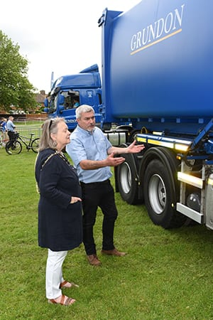 The Mayor of Wallingford, Councillor Rosslyn Lester, watching as Peter Kent, Grundon's depot operations and special events manager, demonstrates some of the many safety features on a Grundon vehicle.