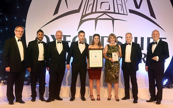 The Grundon team collect the BRITA Green Award at the Oxfordshire Business Awards 2017