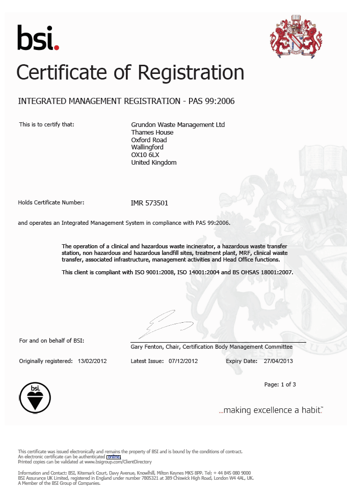 Image of first page of PAS Certificate