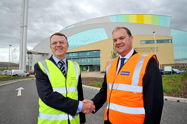 Derek Edwards, South East Regional Director for Viridor (left) and Clayton Sullivan-Webb, Managing Director for Grundon, are pictured at the Ardley facility.